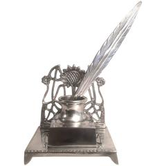 French Art Nouveau Silver Plate Ink Well with Silver Feather Quill Letter Opener