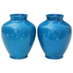 Pair of Vintage Boch Freres Art Deco Turquoise Crackle Glaze Pottery Vases