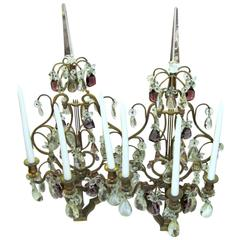 Pair of Antique French Ormolu and Cut Crystal Three-Light Candelabra