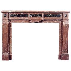 French Louis XVI Style Rouge Royale Marble Fireplace
