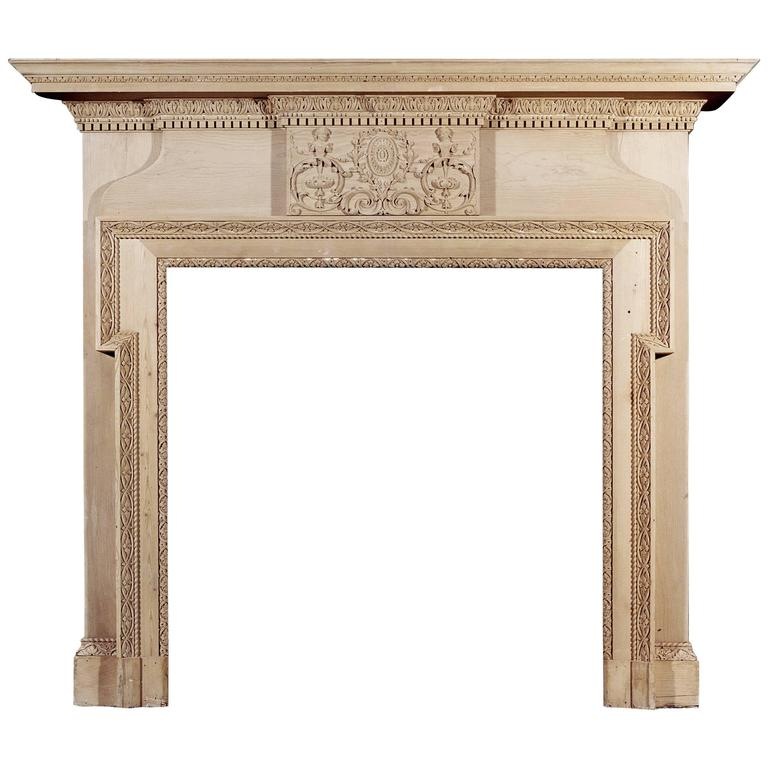 Mid-19th Century Antique English Carved Pine Fireplace