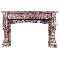 French Louis Philippe Breche Nouvelle Marble Fireplace