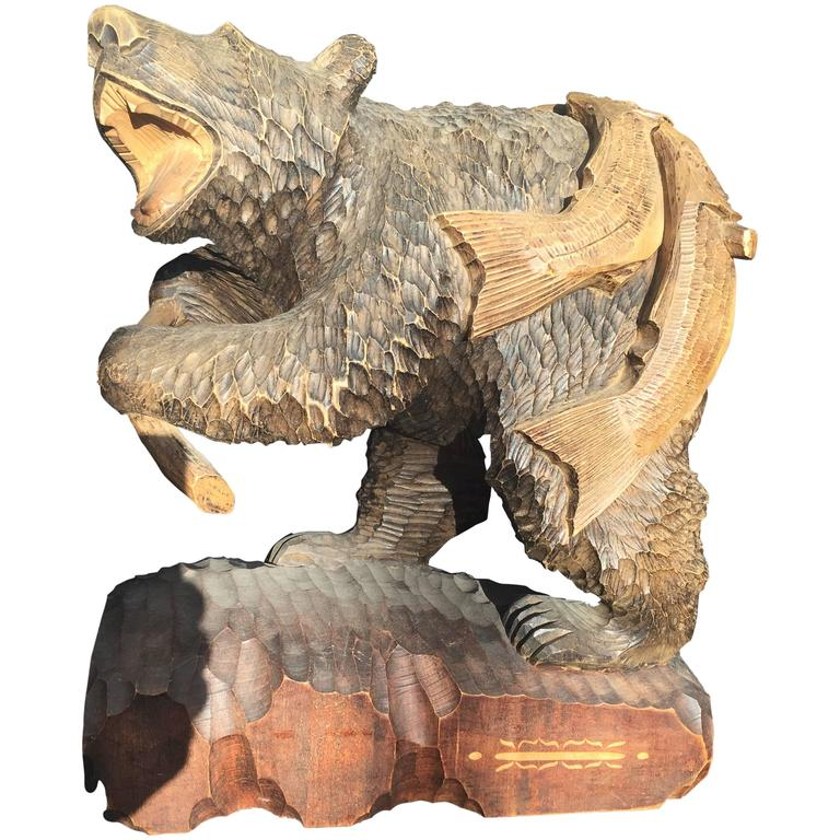 Japanese Large Antique Hand made Hand carved Bear and Salmon