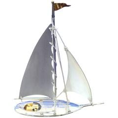Japan Sterling Silver Model of a Yachting and Sailing Vessel with Collector Box