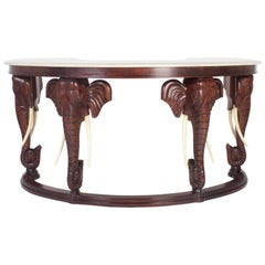 Mid-Century Mahogany Maitland-Smith Desk with Elephant Motif