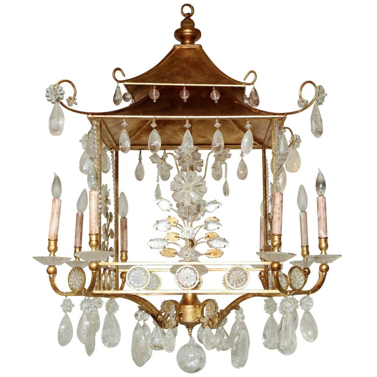 Gilded pagoda form rock crystal chandelier at 1stdibs gilded pagoda form rock crystal chandelier for sale aloadofball