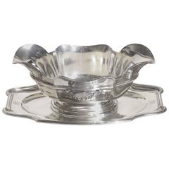 Robert Linzeler French Art Deco Silver Sauciere Mounted on Tray