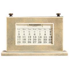 Ewiger Kalender aus Holz und Narbenleder von W.J. Myatt, Art-Déco