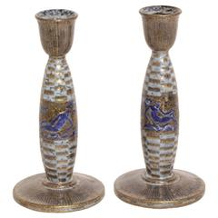 Jean Mayodon French Art Deco Pair of Ceramic Candlesticks