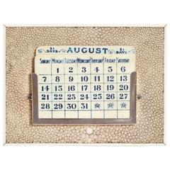 George Betjeman & Sons English Art Deco Shagreen and Silver Perpetual Calendar