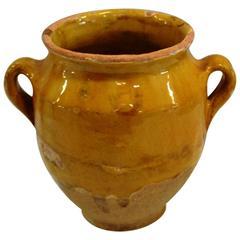 Small Rare Terra Cotta Enameled Yellow Pot