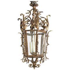 Shapely Venetian Rococo Style Gilt Wrought-Iron Four-Light Hexagonal Lantern