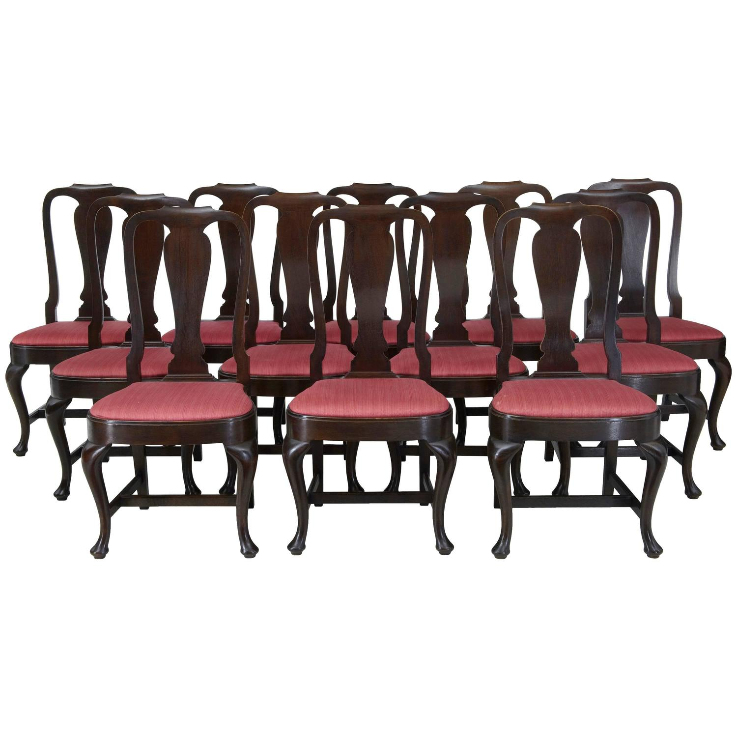 set of 12 1920s oak queen anne design dining chairs for sale at