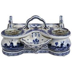 19th Century Blue and White Signed and Stamped Delft Inkwell