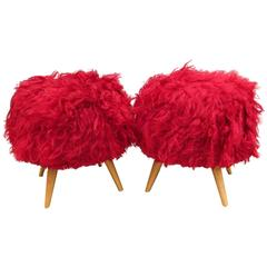 Pair of Turkish Mid-Century Modern Red Shag Ottoman's