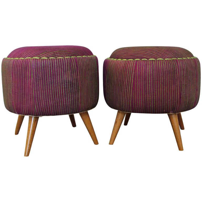 Pair Of Turkish Upholstered Mid Century Modern Ottomans For Sale