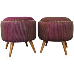 Pair of Turkish Upholstered Mid-Century Modern Ottomans