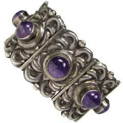 Vintage Horacio de la Parra Mexican Silver and Amethyst Bracelet