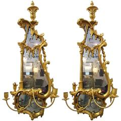 Pair of 18th Century English Giltwood Mirrors with Candleholders