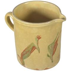 Turn of the Century Yellow Earthenware Pitcher