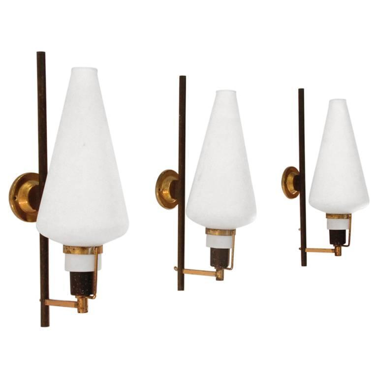 Italian Brass and Glass Wall Light, 1950s, Set of Three For Sale at 1stdibs