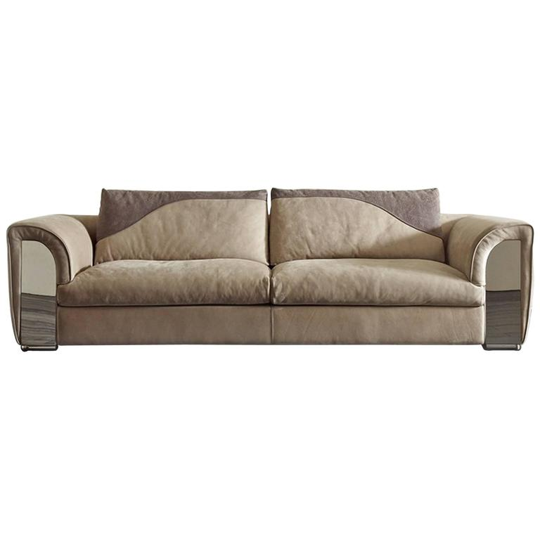 Atlanta Sofa With Leather And Shiny Steel Details For
