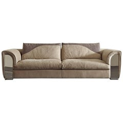 Atlanta Sofa with Leather and Shiny Steel Details