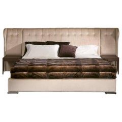 Parma Bed with High Quality Fabric and Night Table Finishing Leather