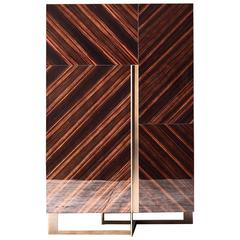 Sideboard Smart Wood Ebony and Bronze Structure and Details