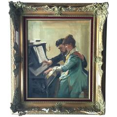 Antonio Godoy Piano Lesson Oil on Canvas Painting