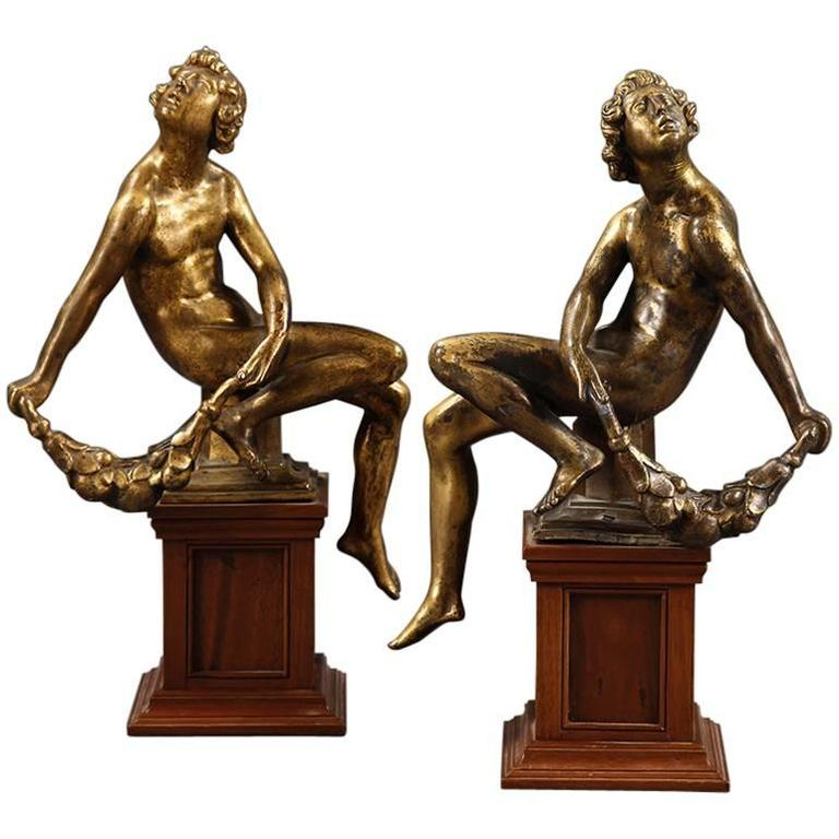 Set of Four Gilt Bronze Figures of Seated Nudes