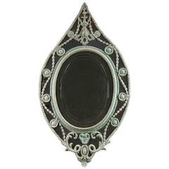 George III Oval Painted Mirror