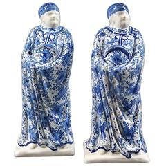 Pair of Blue and White Oriental Figures