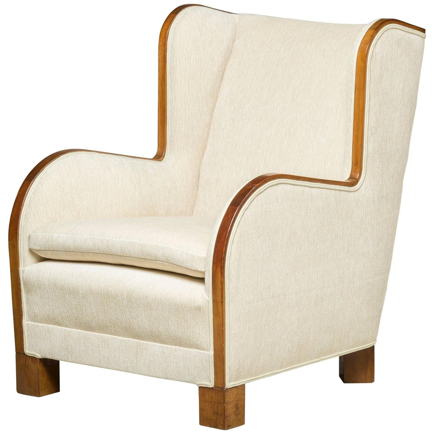 Reupholstered high back 39 easy chair 39 danish design for for Reupholstered chairs for sale