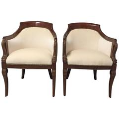 Superb Pair of Italian Mahogany and Cream Velvet Tub Chairs
