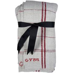 French Provençal Brocant Hand-Spun & Embroidered Linen Oversize Tea Towels, Red