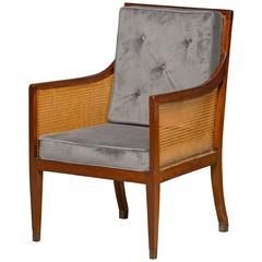 Regency Armchair in Mahogany Reupholstered with Velvet