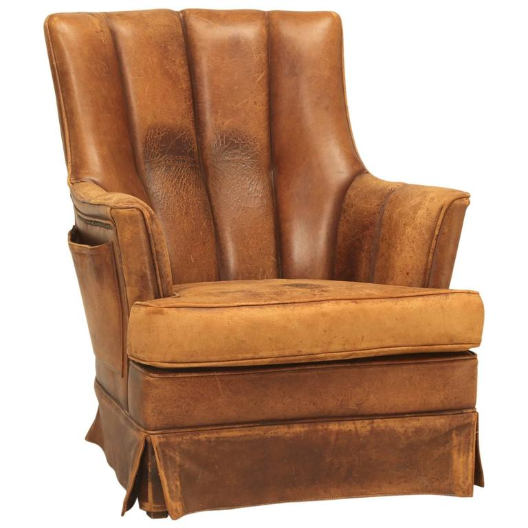 French Leather Armchair with Magazine Pocket