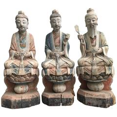 "China Big Taoist Sculptural Group ""Three Pure Ones"" Chengdu Temple, 18thc"