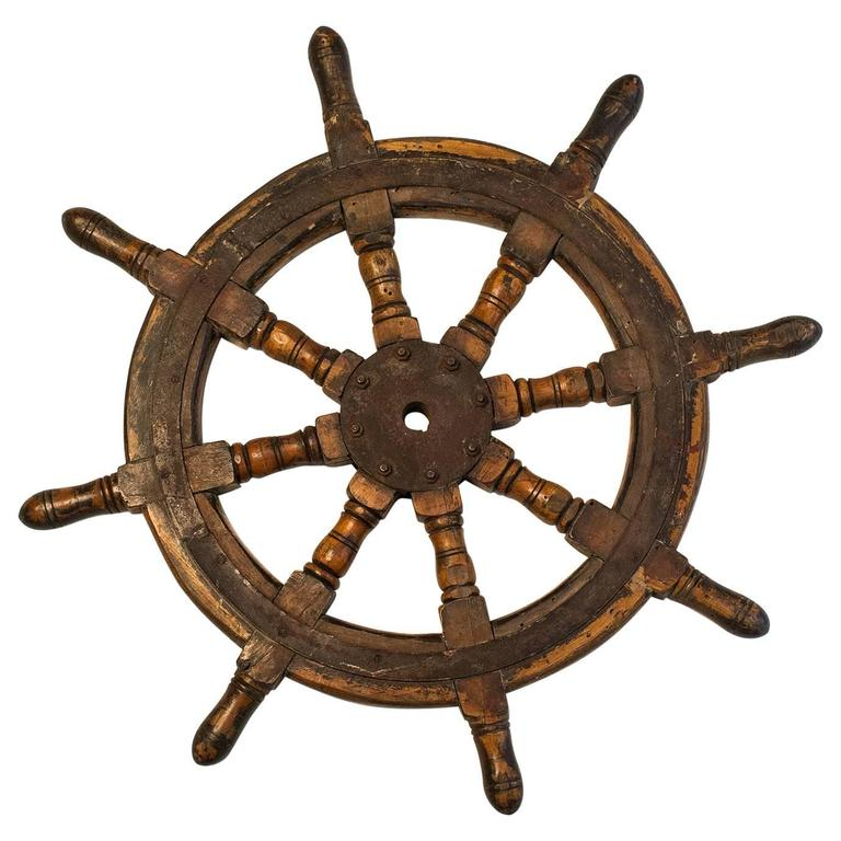 Old Boat Helm Or Ship Wheel For Different Uses For Sale