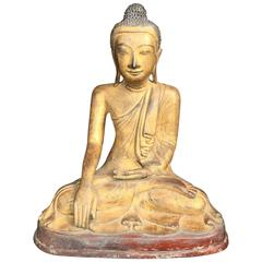 Burmese Serene Faced Gold Gilt Bronze Mandalay Seated Buddha 19th Century
