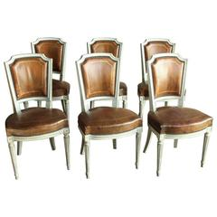 Set of Six 19th Century French Neoclassical Leather Chairs