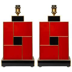 Pair of Table Lamps in Teinted Red and Black Glass