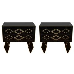 Pair of Nightstands in Teinted Glass and Brass