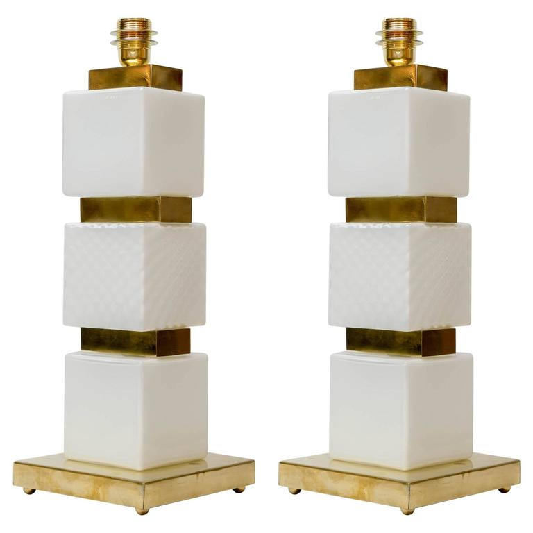 Pair of Table Lamps in Murano Glass and brass.