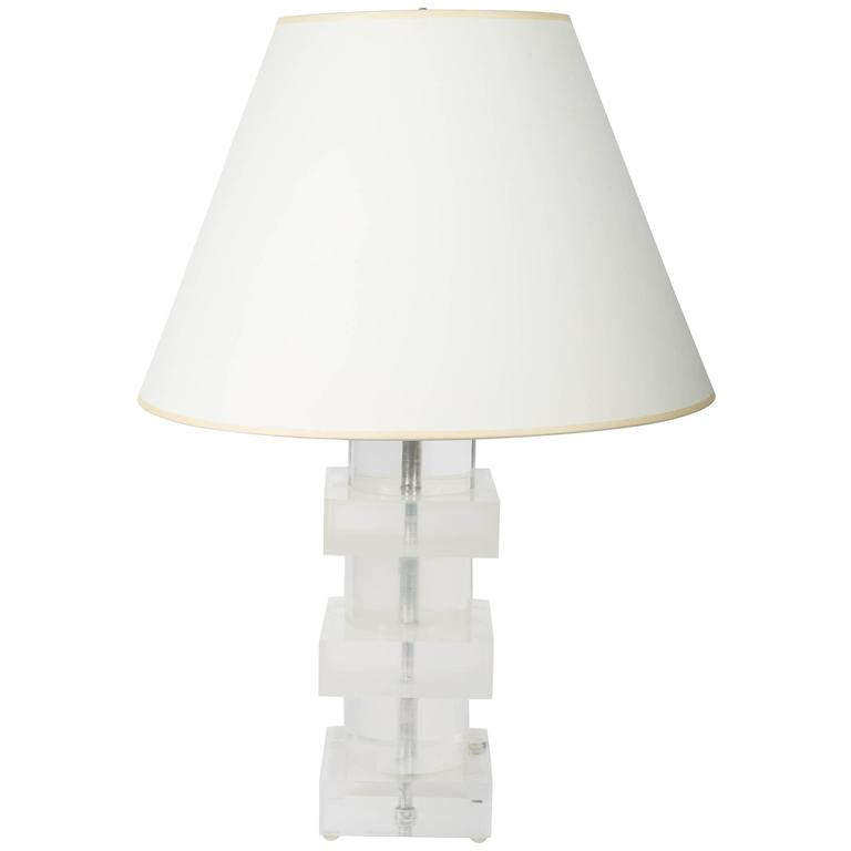 Stacked Geometric Lucite Table Lamp 1