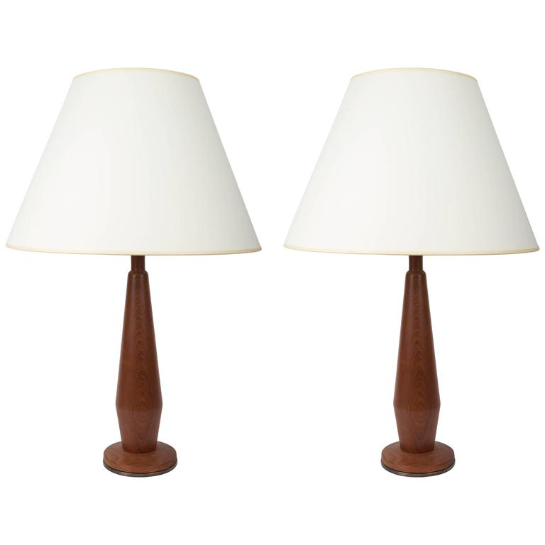 Pair of Teak Lamps with Bronze Bases 1