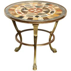 Italian, Neoclassical, Brass and Specimen Marble Low Table