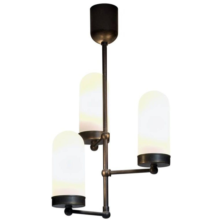 Three-Armed Chandelier with Opaline Glass Shades, Denmark, 1920s For Sale