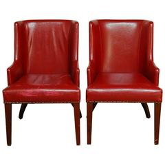 Pair of Vintage Red Leather Library Chairs